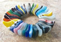 African Trade Beads, Vintage Mali Wedding Beads.Crescent Moon Flat Glass Beads,50 Glass Trade Beads,African Trade Beads