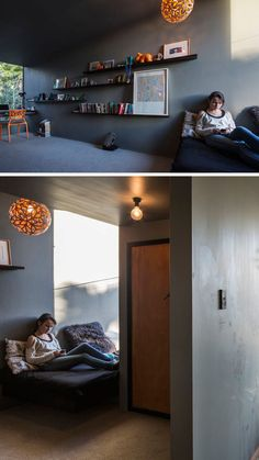 14 Inspirational Bedroom Ideas For Teenagers // The shelves in this teen bedroom are a great way to display accomplishments and favorite objects, and can easily be changed as time goes by.
