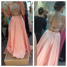 Two Pieces Ball Gown Charming Prom Dress,Prom Dress,Satin Prom Dress,Evening…