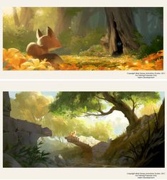 Desenvolvimento Visual e concept arts de Helen Chen Art And Illustration, Concept Art Landscape, Landscape Art, Disney Concept Art, Disney Art, Walt Disney, Game Art, Forest Scenery, Animation Background
