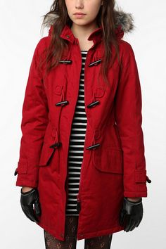 New Long Red Toggle Jacket