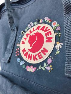 Fjallraven Kanken Embroidered Backpack Customizable Kanken backpack embroidery f. Fjallraven Kanken Embroidered Backpack Customizable Kanken backpack embroidery f. Hand Embroidery Stitches, Vintage Embroidery, Floral Embroidery, Embroidery Patterns, Mochila Kanken, Fjällräven Kanken, Kånken Rucksack, Backpack Decoration, Diaper Bag Backpack