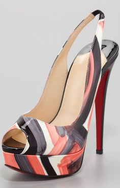 Christian Louboutin Lady Peep Painted Slingback Red Sole Pump