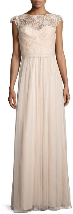 Bridesmaid Dress: This Amsale Lace-Trim Sleeveless Tulle Gown in Fawn would also be perfect bridesmaid dress for a classic wedding. I really love the lace detail!