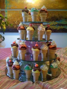 Ice cream cone cupcakes for a pickles and ice cream baby shower!