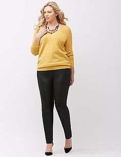 Soft & stretchy slim-fit pant always looks polished in a coated ponte knit. Sleek from waist to ankle, with faux front pockets for a smooth silhouette. Patch back pockets. Button & zip fly closure, with belt loops. lanebryant.com