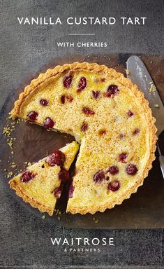 Creamy custard baked in a crisp pastry case. If you prefer, swap the cherries with your favourite berries. Tap for the full Waitrose & Partners recipe. Tart Recipes, Sweet Recipes, Baking Recipes, Dessert Recipes, Sweet Pie, Sweet Tarts, Just Desserts, Delicious Desserts, Yummy Food