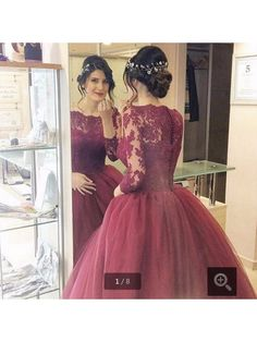 A Line Lace Applique Button Up Back Long Sleeved Burgundy Prom Dress