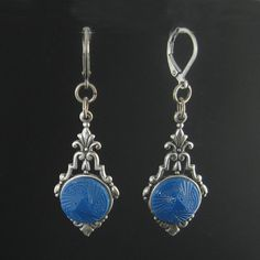 vintage 1920s blue glass button earrings