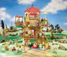 Calico Critters Country Tree House and thousands more of the very best toys at Fat Brain Toys. Country Tree House is a constant delight! Critters relax in the hot tub, enjoy meals on the patio, take canoe rides on the lake, zip. Accessoires Lps, Sylvania Families, Calico Critters Families, Tree House Plans, Dollhouse Dolls, Water Slides, Cool Toys, Kids And Parenting, Kids Toys