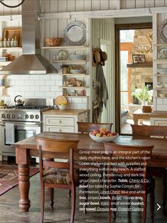 """Open upper shelves, a Persian rug and vintage pine table give the kitchen character. For Jane, group meal prep is a cherished part of spending time at the cottage: """"With the way the kitchen is laid out, you can get a lot of people cooking in here. Style Cottage, Rustic Cottage, Country Kitchen Farmhouse, Farmhouse Kitchens, White Farmhouse, French Cottage, Rustic Kitchen Design, Cottage Kitchens, Cottage Interiors"""
