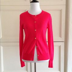 J.Crew lightweight neon watermelon Jackie sweater J.Crew lightweight neon watermelon Jackie sweater- RARE! Not sold in this color anymore! Has pretty little gold buttons! J. Crew Sweaters Cardigans