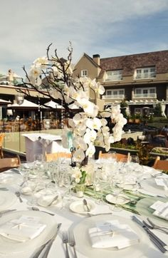 branches, centerpieces, crystals, elegant, greige, orchid, white, modern , decor, flowers, wedding, Del Mar, California