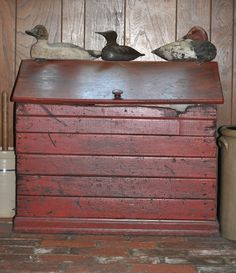 Old Box for storing Wood and 3 old decoys