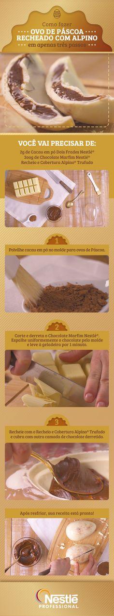 Você só precisa de três ingredientes e três passos simples para criar este Ovo de Páscoa Recheado com Alpino. É fácil de fazer e todos vão adorar.