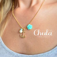 ¡Nueva Cadenita #ancla! https://www.facebook.com/ChulaTiendaCreativa?fref=photo #collar #rosita