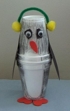 Penguin Craft for summer camp at home. I want to try this with terracotta pots!