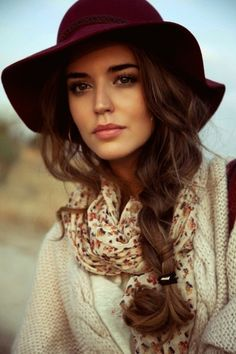 Love this perfect fall look with a floppy felt hat, side braid, scarf, and sweater! Can't wait to recreate this outfit with MaxLove Brand s new Fall Collection of hats.