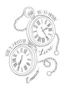 Card Tattoo Designs, Family Tattoo Designs, Clock Tattoo Design, Tattoo Design Drawings, Time Clock Tattoo, Broken Clock Tattoo, Pocket Watch Drawing, Pocket Watch Tattoo Design, Tattoo Fonts Alphabet
