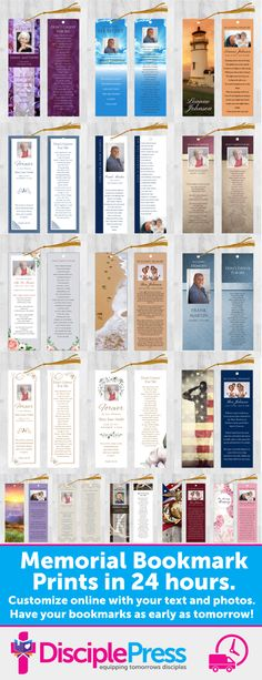 Customize one of our beautiful memorial bookmarks with your own text and photos. We'll print and ship in 24 hours. Remember your loved one with a custom memorial bookmark.