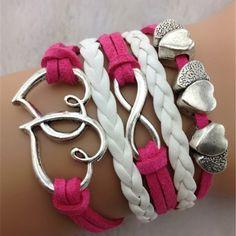 Long Pattern Retro Hearts Braided Fashion Bracelets