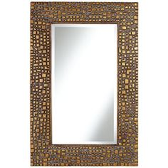 Textured Relief 36 High Bronze Wall Mirror Living Room