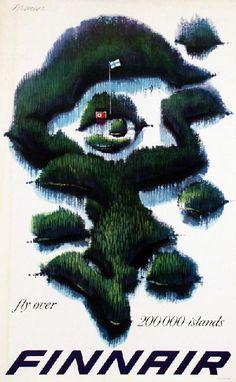 fly over islands - Finnair, Erik Bruun, 1960 Travel Illustration, Retro Illustration, European Airlines, Airline Travel, Air Travel, Vintage Travel Posters, Vintage Airline, Finland Travel, Country Maps