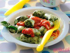 Szpinakowe kluski - danie dla dzieci Caprese Salad, Baby Food Recipes, Kids Meals, Good Food, Lunch Box, Chicken, Life, Diet, Food