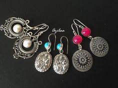 Artisan pink sterling silver ethnic handmade earrings