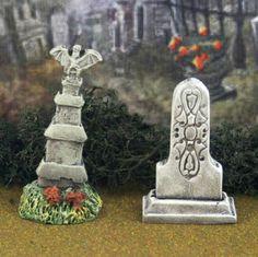 Tombstone Set #16 **by Skinny Bones Designs** Miniature Halloween Village Graveyard Cemetery