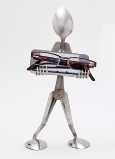 Catch-All Caddy made from recycled spoons and forks. $27 on eco-artware.com