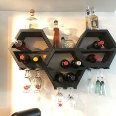 Wood Wine Rack Kitchen Decor - Wine Storage Gift Idea - Unique Custom Handcrafted Set of 3 - Honeycomb Hexagon Modern Geometric Wine Racks Geometric Shelves, Hexagon Shelves, Honeycomb Shelves, Wood Wine Racks, Wine Rack Wall, Unique Wine Racks, Triangle Shelf, Wine Storage, Kitchen Decor