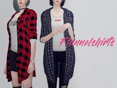 KK Long flannel shirts F for The Sims 4