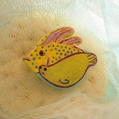 Tropical Fish Seal brooch pin - hand sculpted, hand painted - ooak ocean jewelry, sea life on Etsy, $12.00
