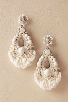 Instead of a tiara, flower crown or a veil, oversized earrings are my pick for Bridal style. For my own wedding I wore J Crew White, oversized earrings Rihanne Earrings Big Earrings, White Earrings, Wedding Earrings, Beaded Earrings, Boho Necklace, Bridal Accessories, Wedding Jewelry, Jewelry Accessories, Wedding Hair
