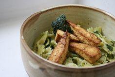 kale pesto bowties + baked tofu, #theveganette