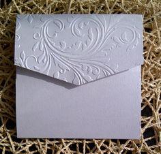 Luxury Embossed Damask Pocket Fold Invitation by LKsInvitations, £3.80
