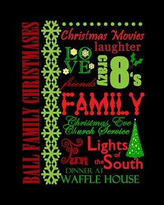 Christmas Words, Christmas Movies, Christmas Print, Christmas Ideas, Waffle House, Personalized Christmas Gifts, Word Art, Laughter, Neon Signs