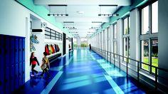 colorful and geometric flooring for K-12 - American Biltrite Stonescape