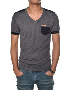 e05808c4 (TCVS03) TheLees Mens Casual Slim Fit V-neck Short Sleeve Plain Tshirts  CHARCOAL