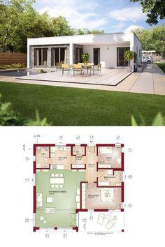 Bungalow Evolution 100 V7 - Bien Zenker - Moderner Grundriss, Haus, Flachdach, Terrasse, Bauhaus, Pool, Garage, Carport, Garten