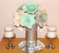 Silver Shimmering floral arrangement Mint Green by CENTERTWINE, $28.00