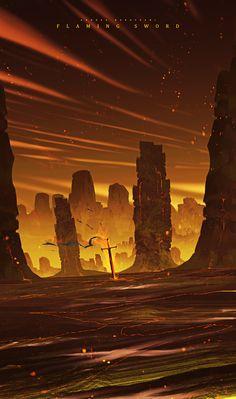 ღчσu gσt thє вєѕt σf mєღ Concept Art Landscape, Fantasy Landscape, Landscape Art, Fantasy Places, Fantasy World, Fantasy Art, Arte Sci Fi, Sci Fi Art, Wow Art