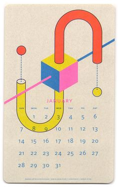 January 2018 - risograph designed by Paperpusher.CA - aka JP King Graphic Design Posters, Graphic Design Illustration, Graphic Design Inspiration, Typography Prints, Typography Design, Branding Design, Calendar Layout, Calendar Design, Design Package
