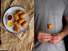Corn Dog Pops - Use cocktail weiners!  These were awesome.  The batter makes A LOT, so be prepared, or cut it back.