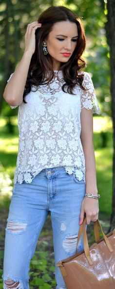Zara White Floral Lace Crochet Top by My Silk Fairytale