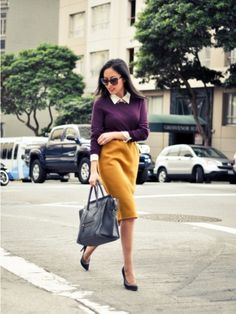 Mustard skirt, white blouse, purple sweater