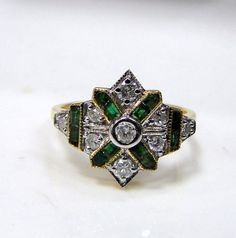 Vintage Art Deco style 18 k solid gold Diamond Emerald Ring. Usa ring size-7 ( we can adjust to any size), width-14.5 cm, weight-3.200 grams, Diamond Weight -.50 carat. Material-18 K solid gold natural Emerald and Diamonds. | Shop this product here: spreesy.com/tribalexport/13 | Shop all of our products at http://spreesy.com/tribalexport    | Pinterest selling powered by Spreesy.com