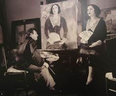 Marc Chagall and his wife Bella in the workshop. 1934