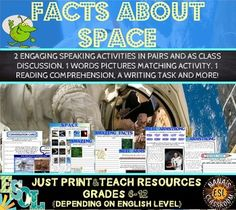 Mini ESL unit about space. Students will discuss in pairs and as a class with two different speaking activities. They will learn 20 different vocabulary words related to space and astronomy. They will discover 8 amazing facts about space through wordle sentence formation.